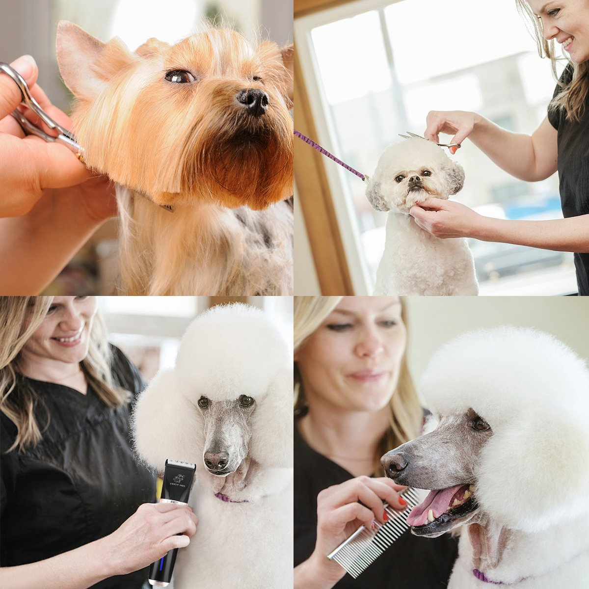Pet Grooming Clippers Dog Clippers Cat Shaver, 2 Speed Professional Electric Clippers Cordless Rechargeable, Dog Hair Cutter for Thick Coats Long Haired Dog Cat, Quiet Animal Clippers and Trimmer