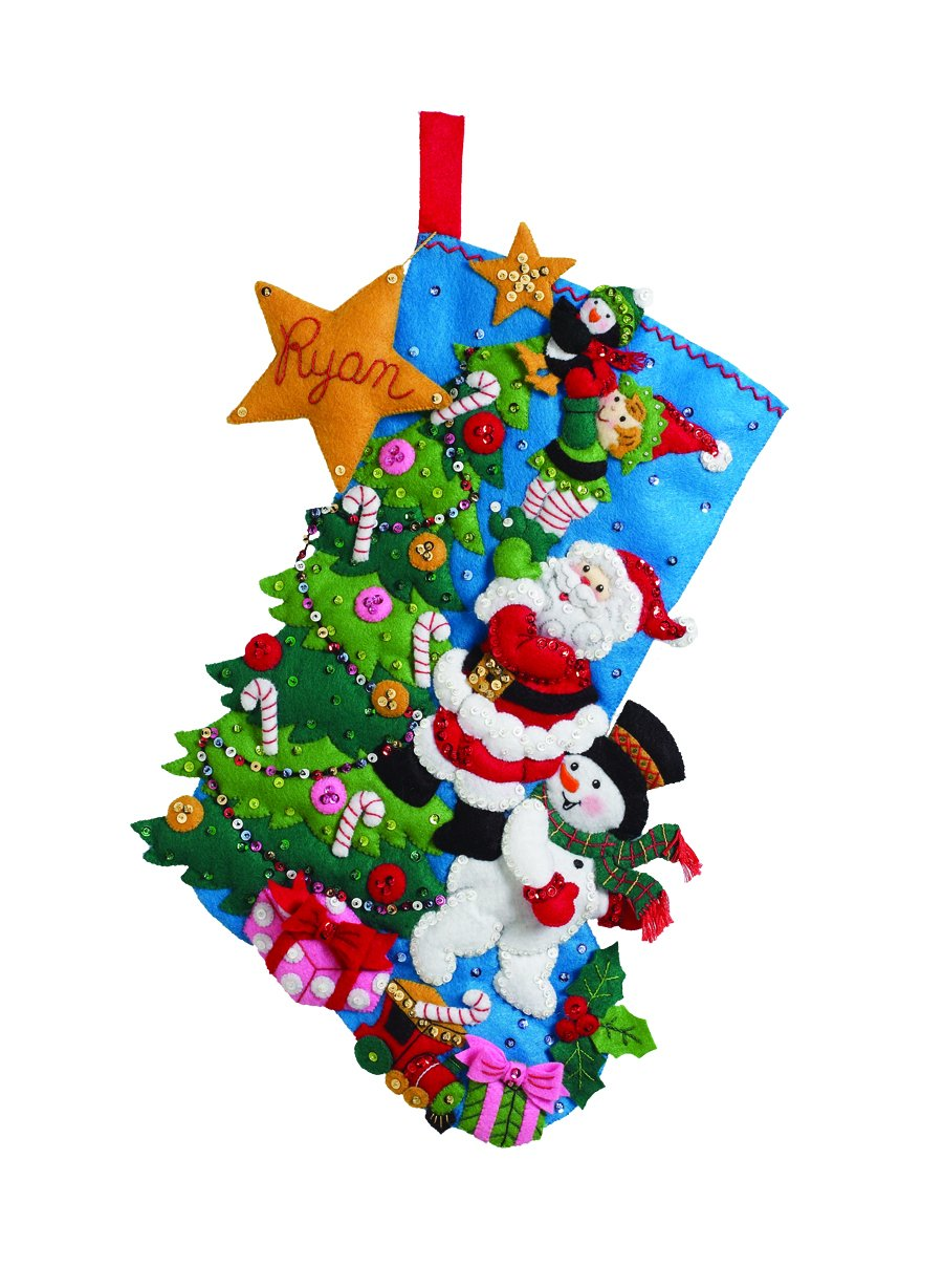 Bucilla 18-Inch Christmas Stocking Felt Applique Kit, 86278 The Finishing Touch Plaid Inc dimensions needlecrafts holiday stitchery
