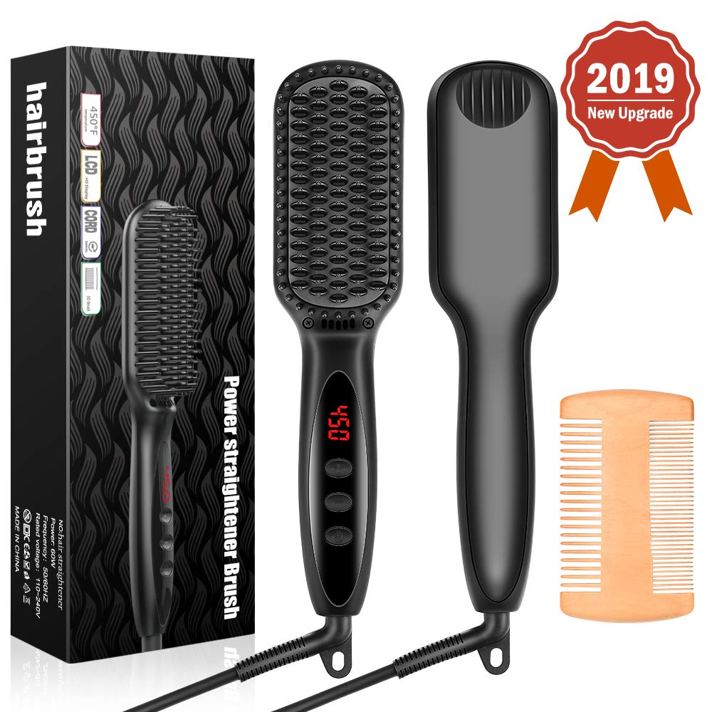 Senignol Heated Hair Straightener Brush, Beard Straightening Heat Brush Electric Hair Straightener Comb Ionic with PTC Ceramic Technology, Portable Beard Straightener Brush for Home Travel