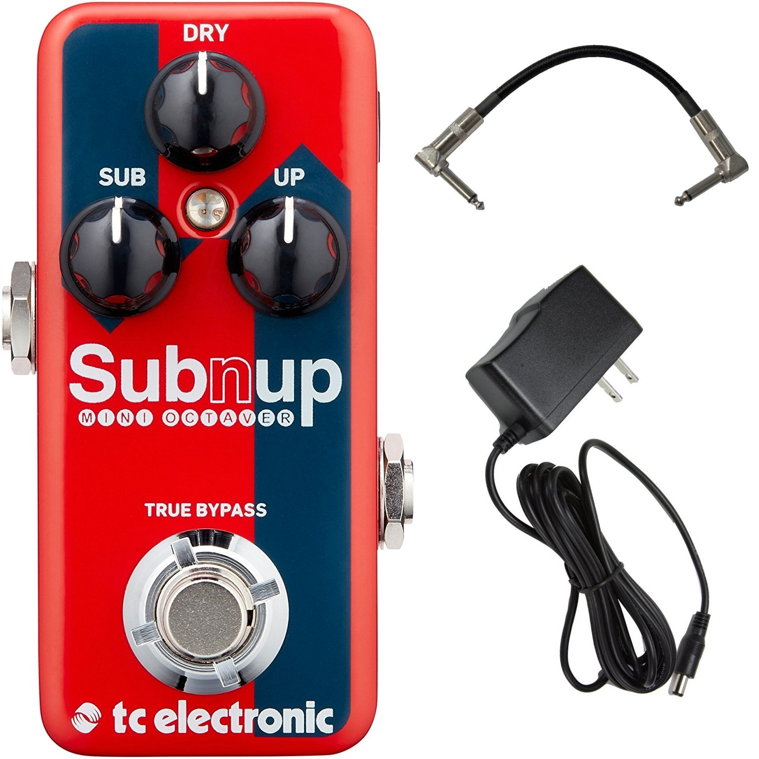 TC Electronic Sub 'n' Up Mini Octaver Effects Pedal Bundle with 9V Power Supply and Patch Cable by TC