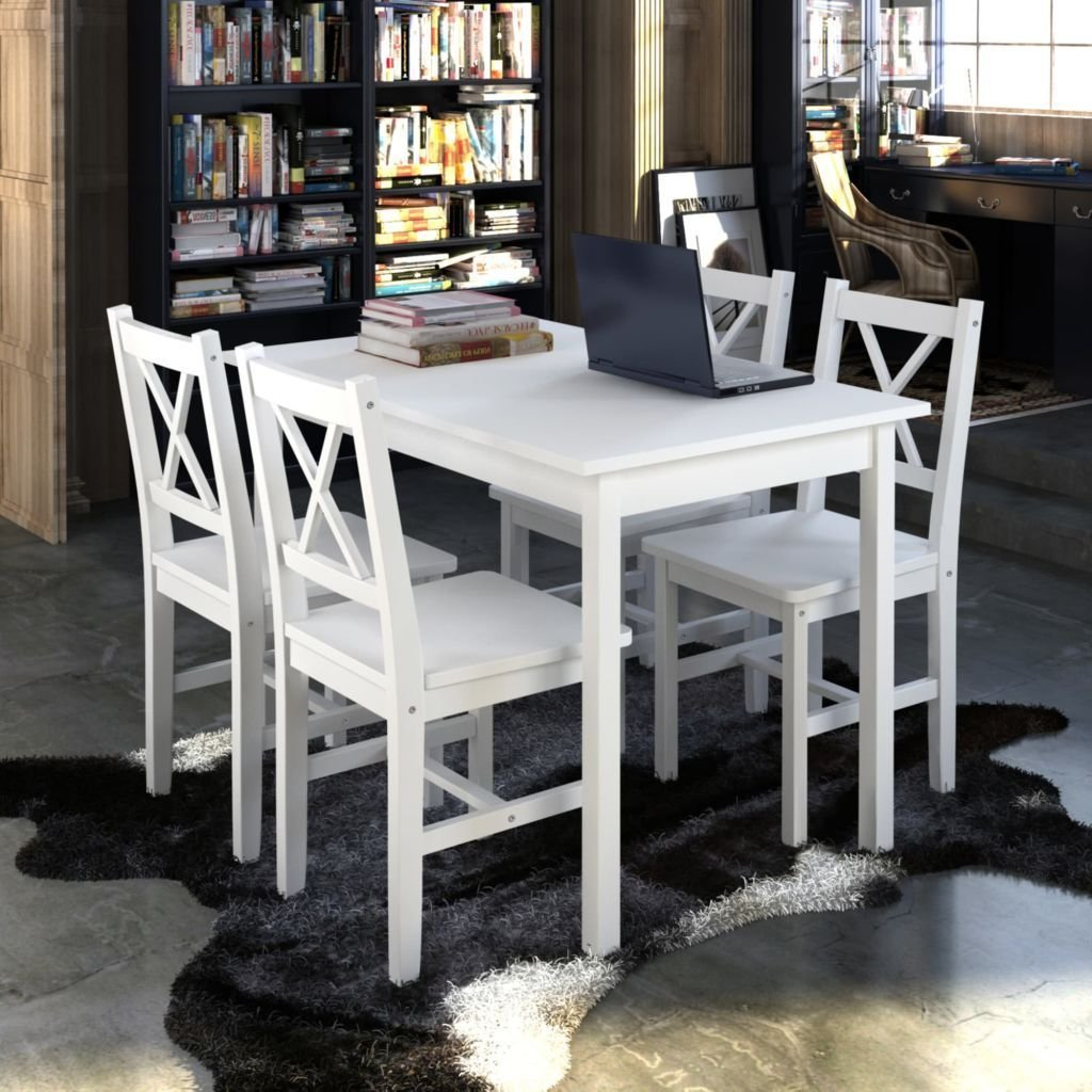 K Top Deal 5 Piece Kitchen Dining Set Pine wood + Plywood Furniture Lacquered Table and 4 Chairs, White