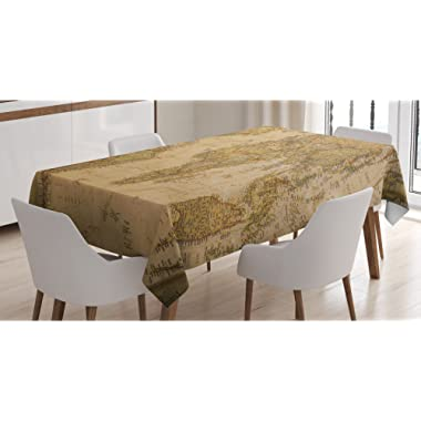 Ambesonne Wanderlust Decor Tablecloth, Anthique Old World Map in Retro Color with Vintage Nostalgic Design Art Print Deco, Rectangular Table Cover for Dining Room Kitchen, 52x70 Inches, Cream