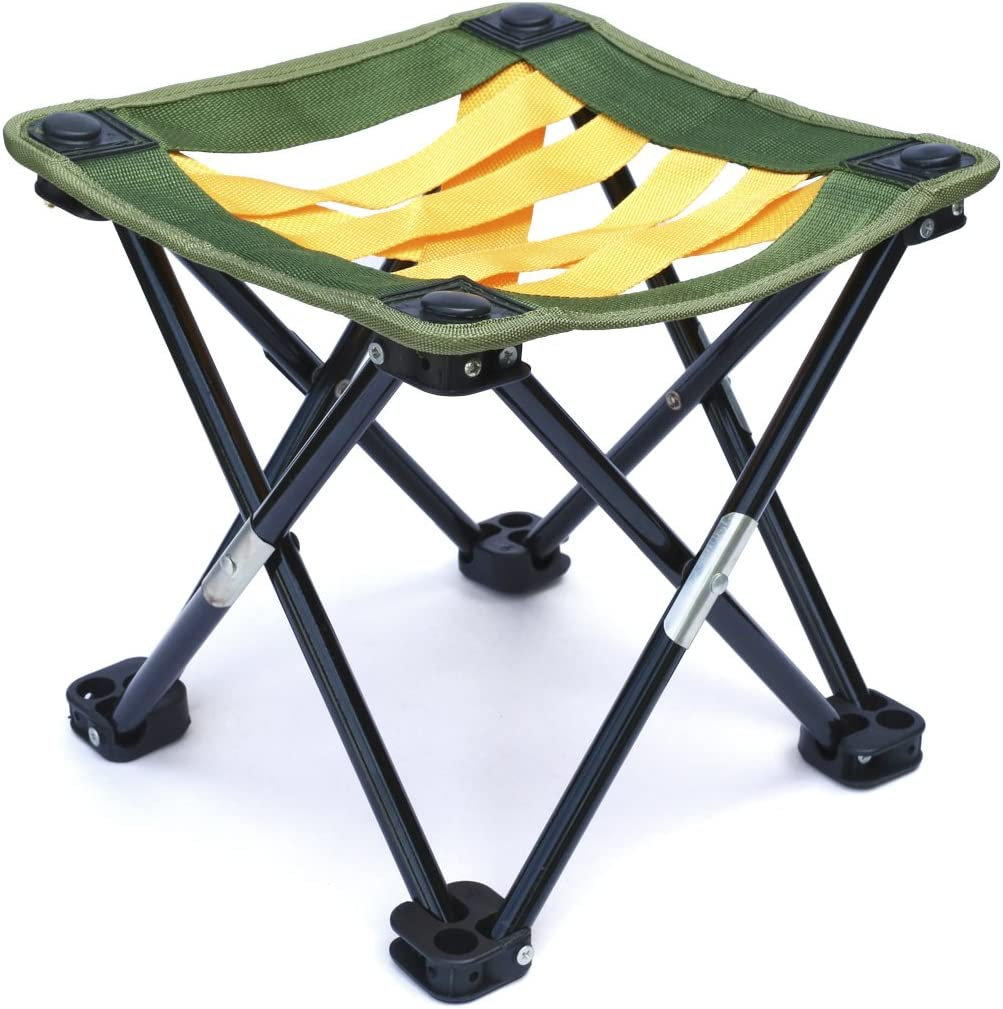 Mini Portable Camping, Gardening or Fishing Stool, Strap Webbing,10.5 inches tall, folding camp chair for backpacking - hiking - events - travel - boating -'sporting - lightweight'sturdy webbing'seat