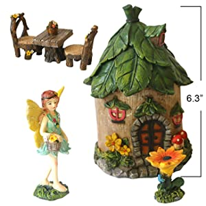 BangBangDa Miniature Fairy Garden Accessories - Small Fairy Figurines Decorations - Fairy House Table Chair Flower Kit for Girl Mini Garden Ornaments (Set of 6)