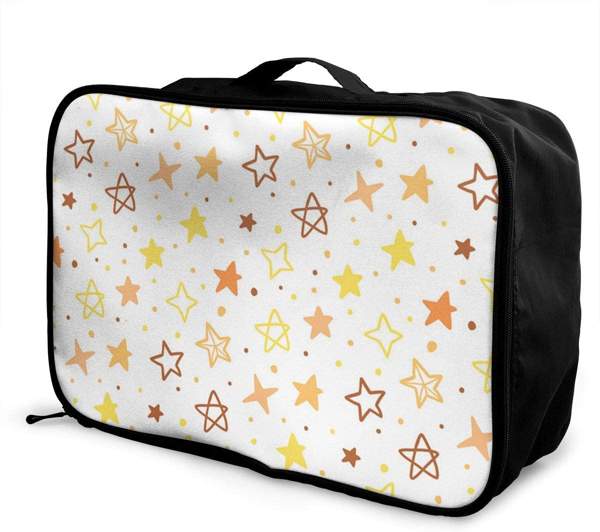 Yellow Stars Travel Carry-on Luggage Weekender Bag Overnight Tote Flight Duffel In Trolley Handle