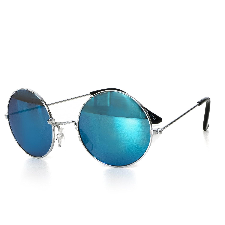 Sonnenbrille Rund Damen oder Herren Unisex Retro Brille Verspiegelt Transparent UV400 CAT 3 CE-Norm gold silber schwarz blau von EYES ON ME, Farbe:Silber Rosa Getönt