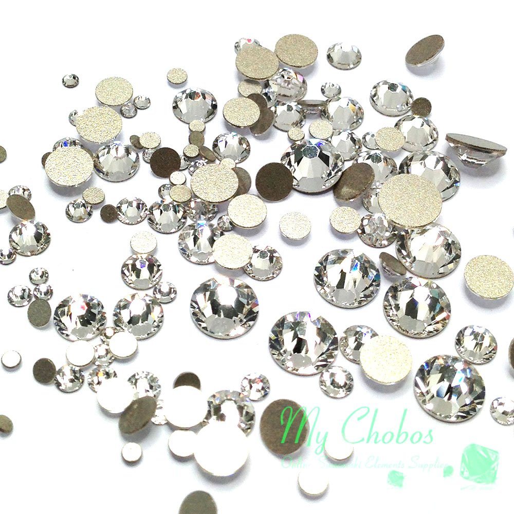 Swarovski clear CRYSTAL (001) 144 pieces 2058/2088 Crystal Flatbacks rhinestones nail art mixed with Sizes ss5, ss7, ss9, ss12, ss16, ss20, ss30 AL325
