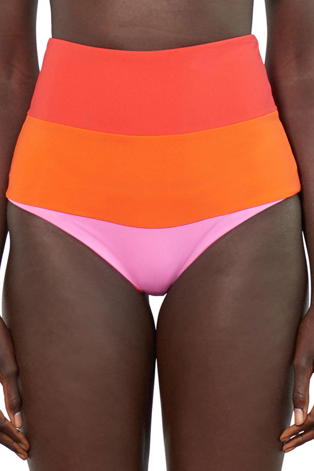 Mara Hoffman Women's Sunrise Colorblock High Waist Bottom Multi S
