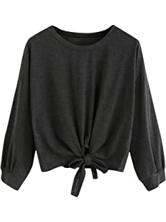 Romwe Womens Cute Knot Front Drop Shoulder Round Neck Long Sleeve T-Shirt Crop Top