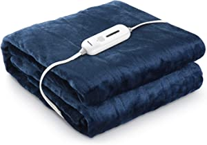 "MaxKare Electric Blanket Oversized 62"" x 84"" Twin with 3 Heating Levels & 8 Hours Auto Off Fast Heating ETL Certification, Soft Flannel Home Use, Washable"