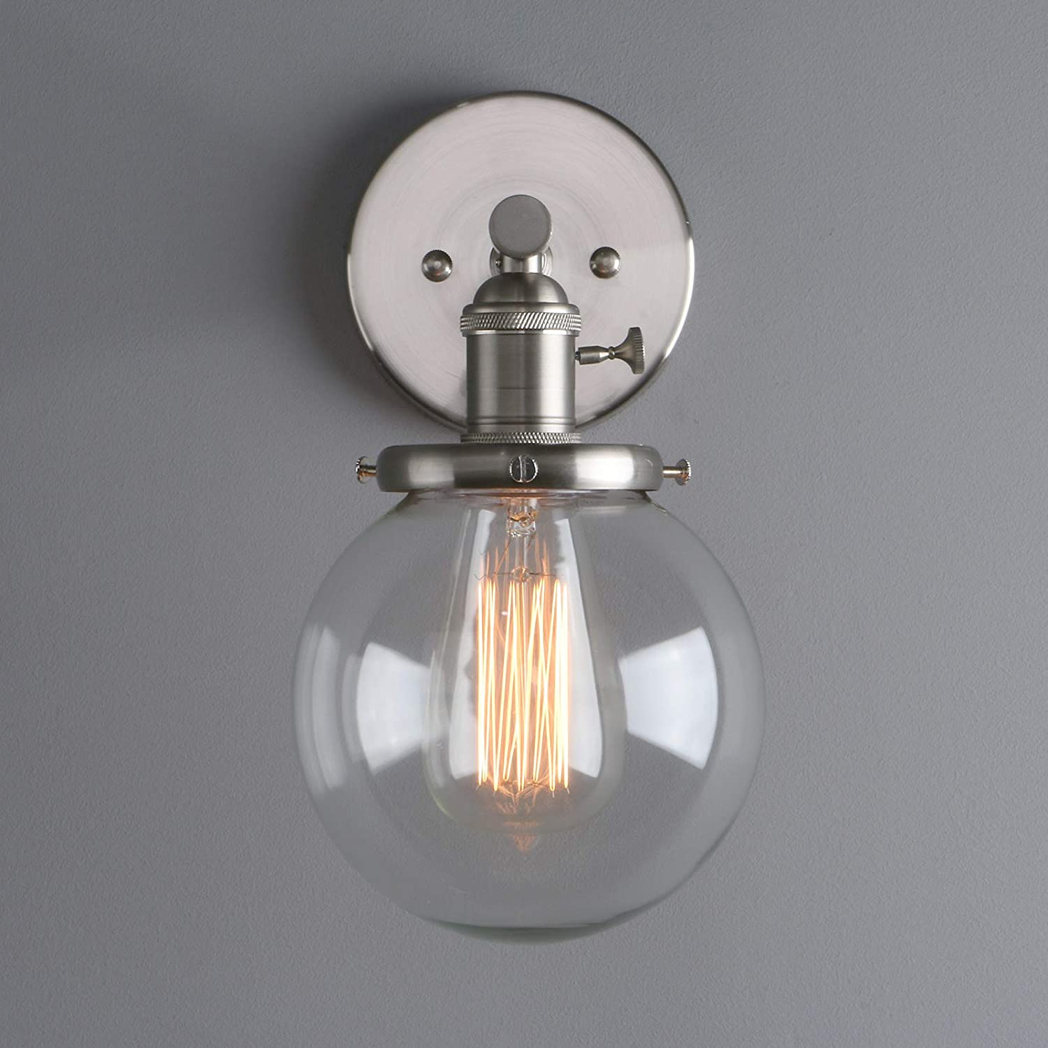 Phansthy Industrial Wall Light Globe Wall Sconce with 5.9 Inch Clear Glass Canopy Chrome