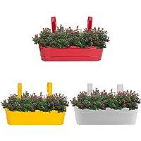 Nuha 16 Inch Railing Planter - Railing Planter, Flower Pot, Wall Planter, Metal Planter, Balcony, Garden Planter (Set of 3)