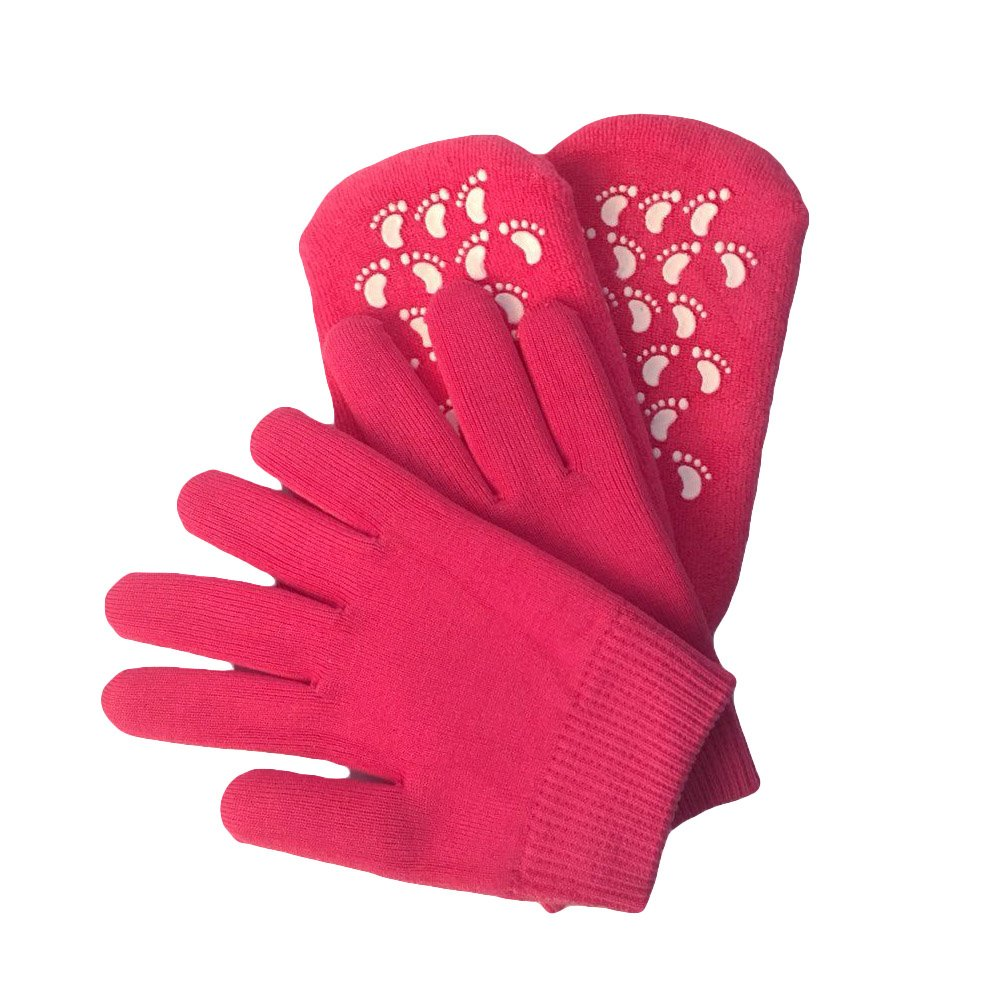 HEALIFTY Women Moisturizing Gloves and Socks Soft Moisture Socks with Thermoplastic Gel Repair and Heal Eczema Cracked Dry Skin (Rosy Red)