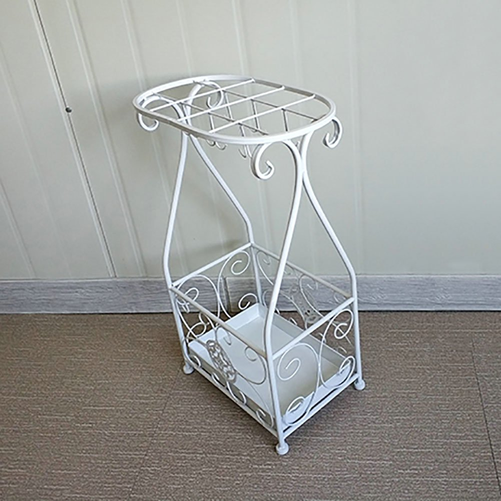 WSSF傘ラック12フック鉄アートオフィスホテルロビーロング/ショート傘スタンド傘バレルフリースタンディング杖/ウォーキングスティックホルダー (色 : 白) B07F1Q4TYP白