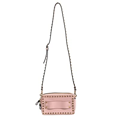 44d2a20e9 Image Unavailable. Image not available for. Color: Valentino Garavani  Women's Leather Pink Rockstud Clutch Cross Body Shoulder Bag