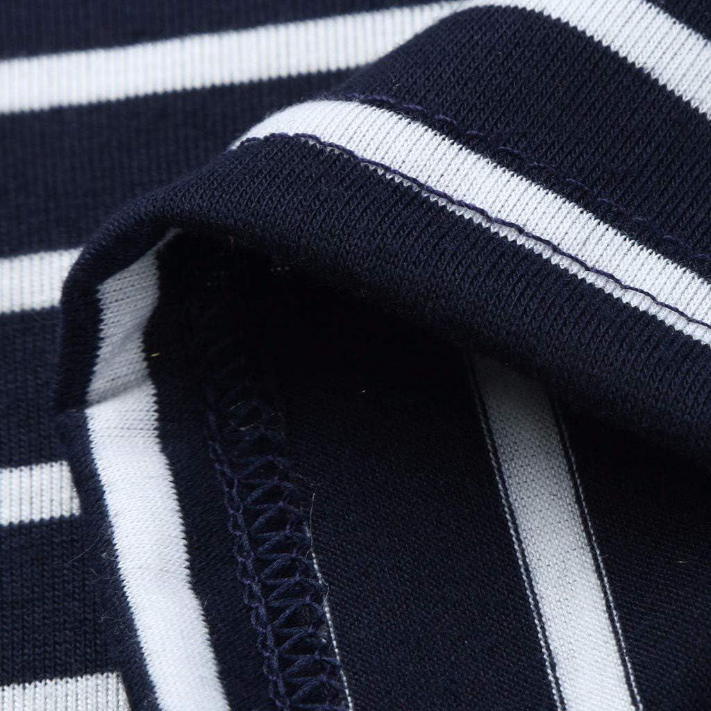 Iusun Womens Maternity Tops Flower Stripe Stitching Short Sleeve Plus Size T-Shirt Mom Nursing Breastfeeding Pregnants Summer Cloth