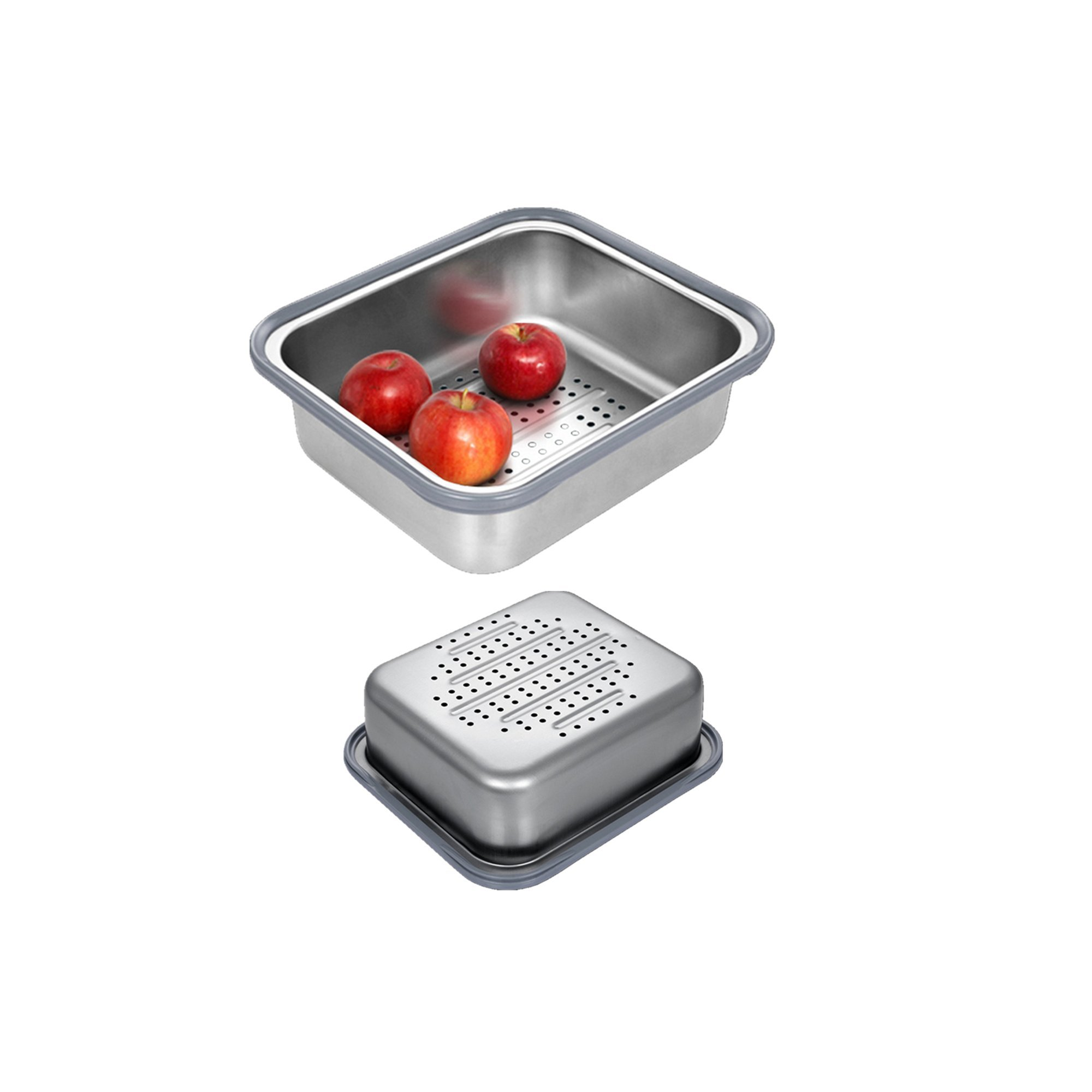 Drainer Basket for Fruit Basket and Vegetables, Drainer fruit,Drainer dish, Stainless steel,14.2x10.2x4 inch