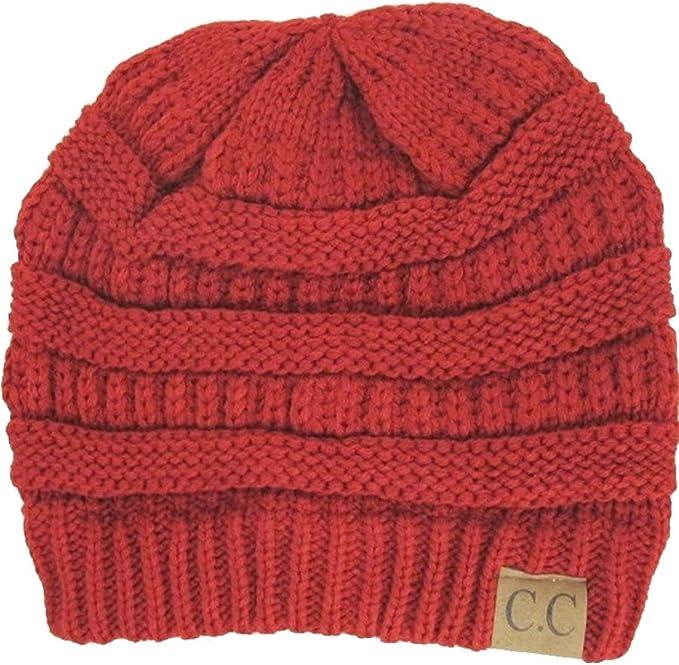Red Winter Beanies Slouchy Chunky Hat for Men Women Warm Soft Skull Knitting