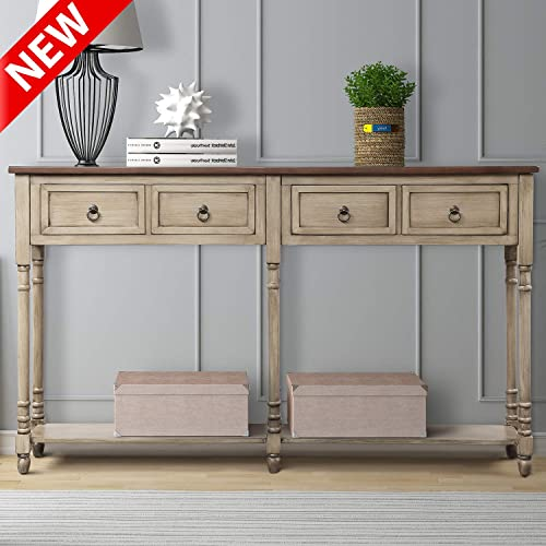 DANGRUUT Updated Version Console Table for Entryway, 59 Best Hallway Sofa Table, Side Cabinet with 2 Exquisite Big Drawers and Storage Shelf, Retro Solid Wood Living Room Furniture Antique Gray