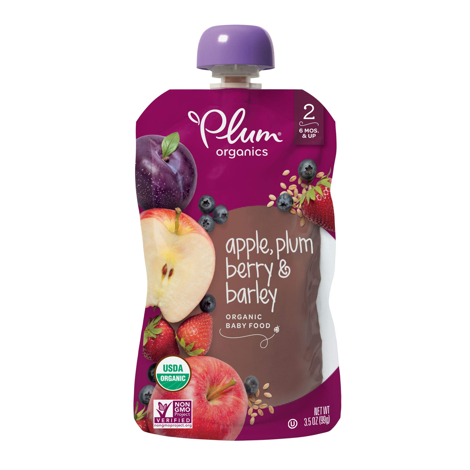 Plum Organics Stage 2, Organic Baby Food, Apple, Plum, Berry and Barley, 3.5 ounce pouches (Pack of 12) (Packaging May Vary)