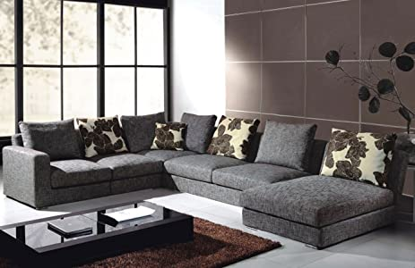 Tosh Furniture Gray Fabric Sectional Sofa : sectional sofa amazon - Sectionals, Sofas & Couches