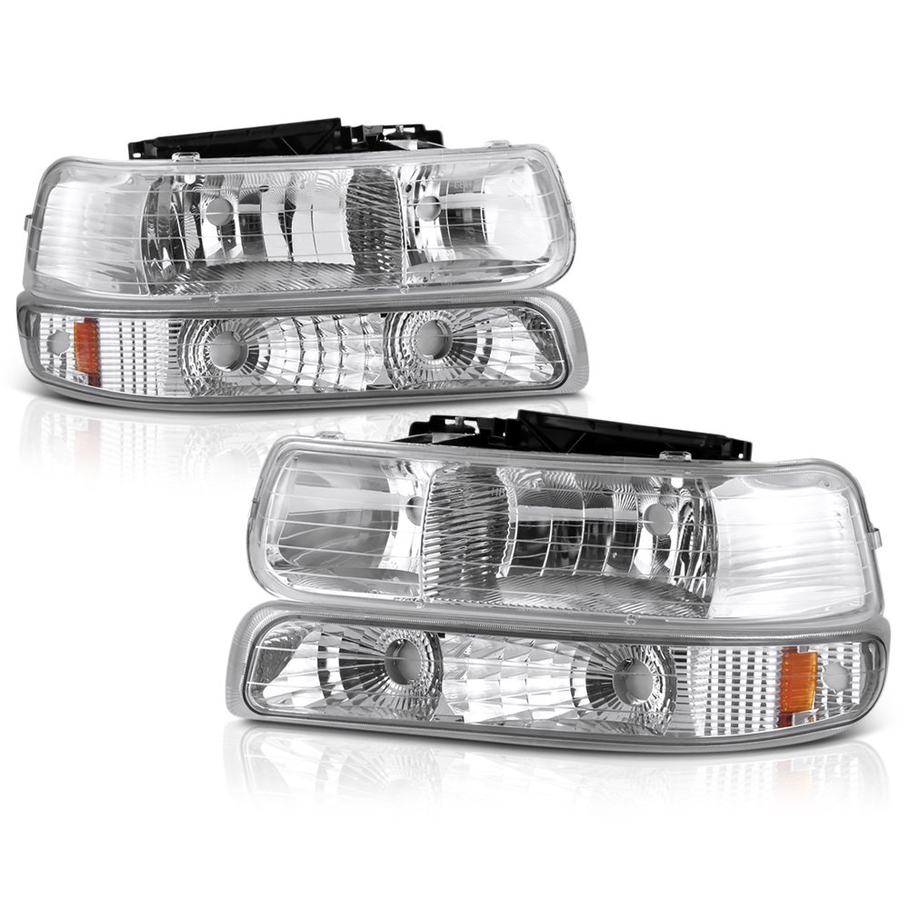 Replaces 15199558 15199559 ; For 1999-2002 Chevrolet Silverado 1500 Pair Driver and Passenger Side Parking Light Lens and Housing Only GM2520173 GM2521173