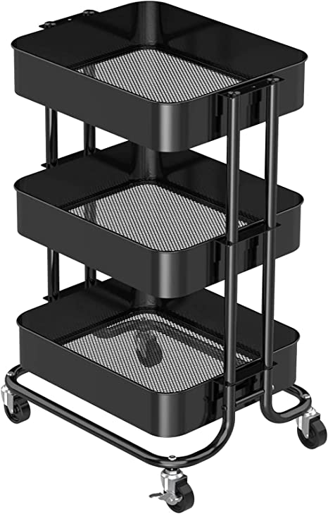 Pipishell 3 Tier Metal Rolling Utility Cart Heavy Duty Storage Cart With 2 Lockable Wheels Multifunctional Mesh Organization Cart For Kitchen Dining Room Living Room Black Kitchen Dining