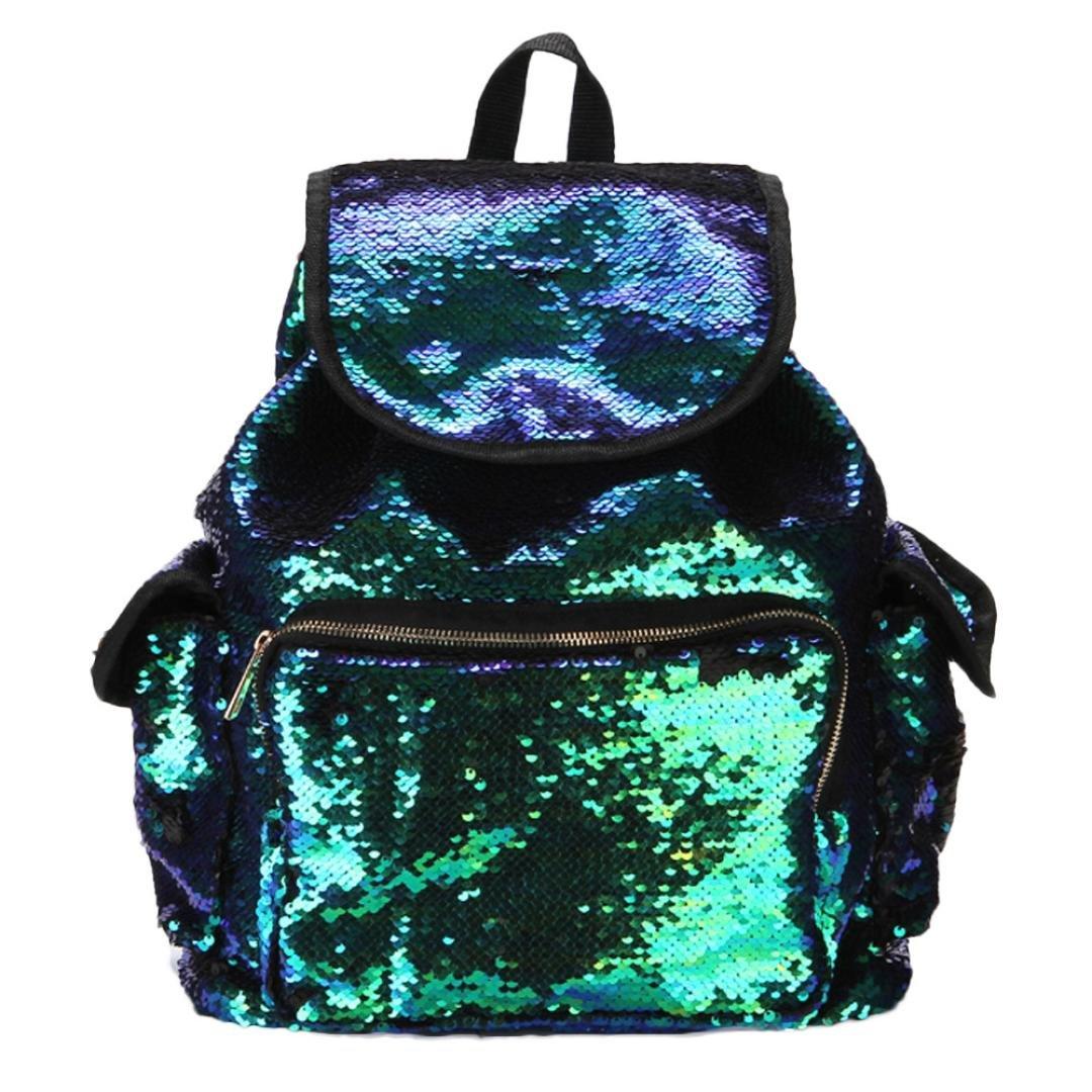 BCDshop Fashion Sequins School Shoulder Bag Drawstring Backpack Daypack For Women Girls (Green)