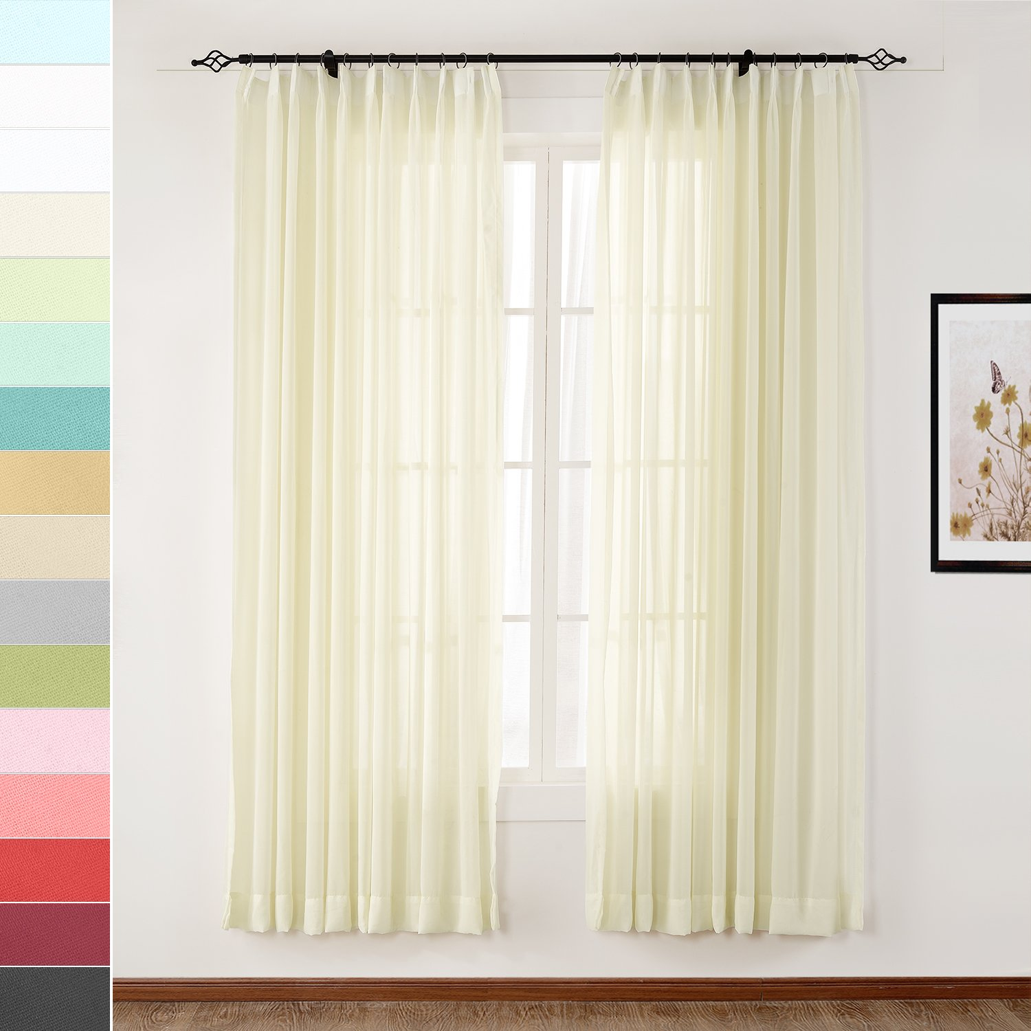 Macochico 100Wx 102L Ivory Outdoor Indoor Extra Wide Light Sheer Curtains Panels Privacy Protection dustproof for Bedroom Living Room Patio Garden Gazebo Cabana Backyard (1 Panel)