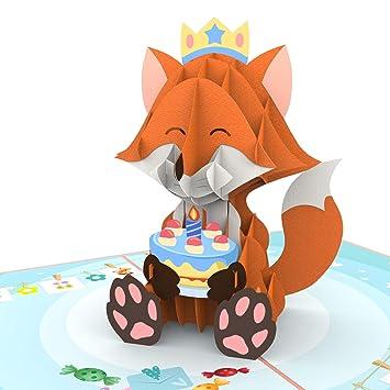 Amazon.com: Colorpop Tarjetas de cumpleaños Fox Tarjeta de ...