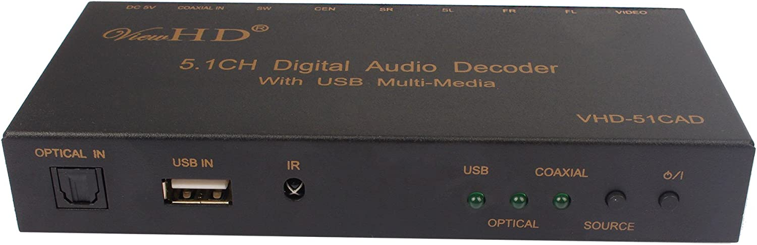 5.1CH Digital Audio to 6CH Analog or Stereo Audio Decoder | VHD-51CAD ViewHD Audio