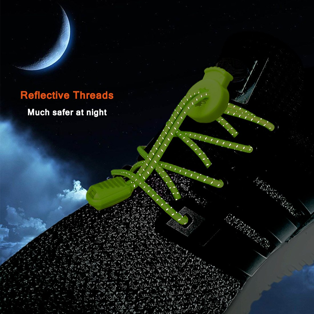 Canwn 2 Pairs Elastic Laces, Reflective Elastic Shoe Laces 120cm No Tie Elastic Lock Shoelaces for Adults, Kids, Older Generation, Disabled, Runners