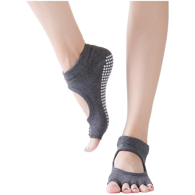 NSEHIK Yoga Socks for Women Half Toe Non Slip Pilates Barre Ballet Non Skid Sticky Grip Sock