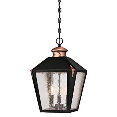 Westinghouse Lighting 6339100 Valley Forge Three-Light Outdoor Pendant, Matte Black Finish with Washed Copper Accents and Clear Seeded Glass,