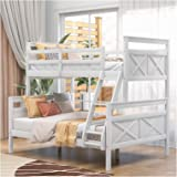 Twin Over Full Bunk Bed with Ladder Safety Guardrail Perfect for Kids Bedroom No Need for Spring Box-Easy Assembly U.S.A. Loc