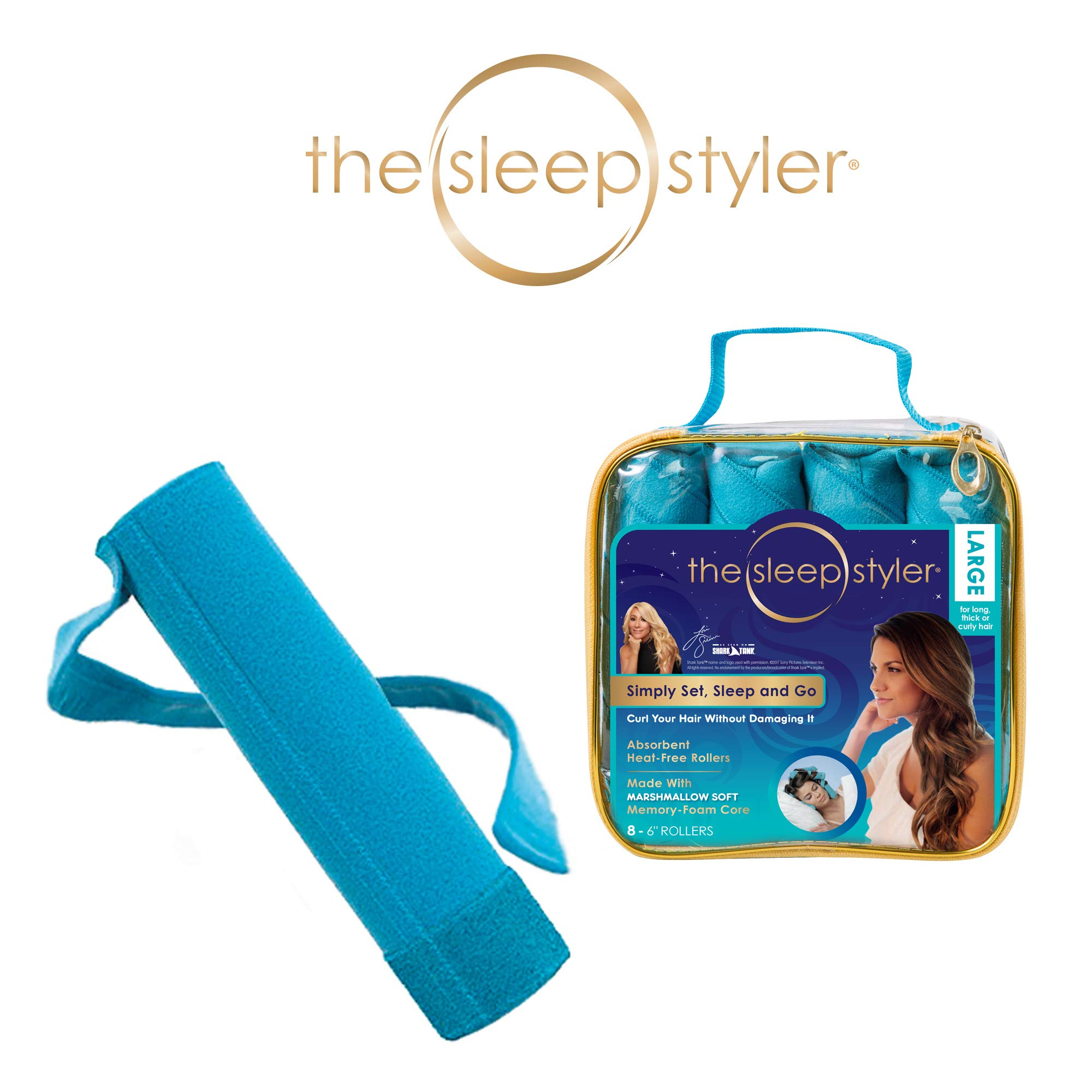 Allstar Innovations Sleep Styler: The heat-free Nighttime Hair Curlers for long, thick or curly hair, Large (6'' Rollers), 8 Count, As Seen on Shark Tank by Allstar Innovations