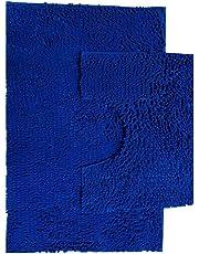 Bath Mat Set 2 Piece Non Slip Rubber Pedestal and Bath Mat Set Toilet Loop Bathroom Rug New (Royal Blue)