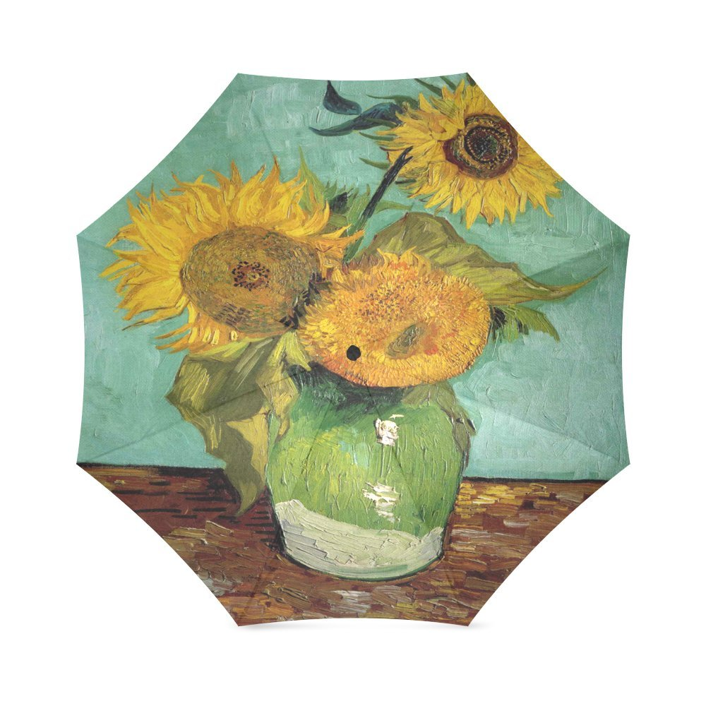 41235eacf2 low-cost Custom Sunflower By Vincent Van Gogh Compact Travel Windproof  Rainproof Foldable Umbrella