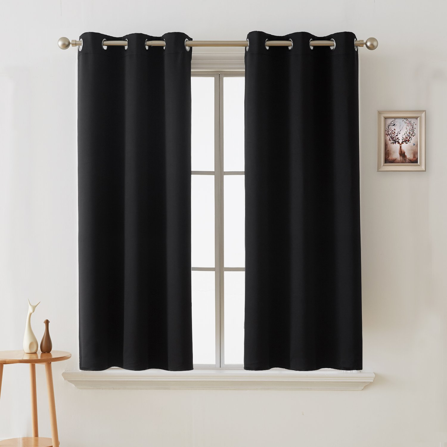 Deconovo Blackout Curtains Room Darkening Thermal Insulated Curtain Panels Grommet for Living Room Black 38 x 45 Inch 2 Panels