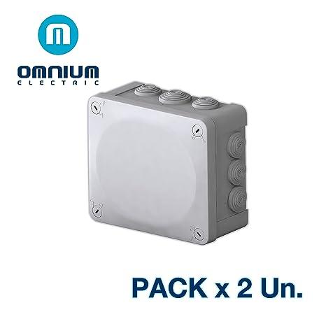 Caja estanca IP55, 175x150x80mm, con conos y tapa con tornillos (Pack 2 Unidades