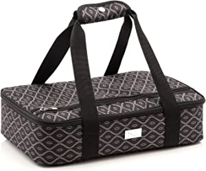 Pursetti Casserole Carrier - Single Layer Insulated Bags for Food Transport of Lasagna, Salad & Dessert for Potluck, Family and Holiday Parties (Black Trellis)