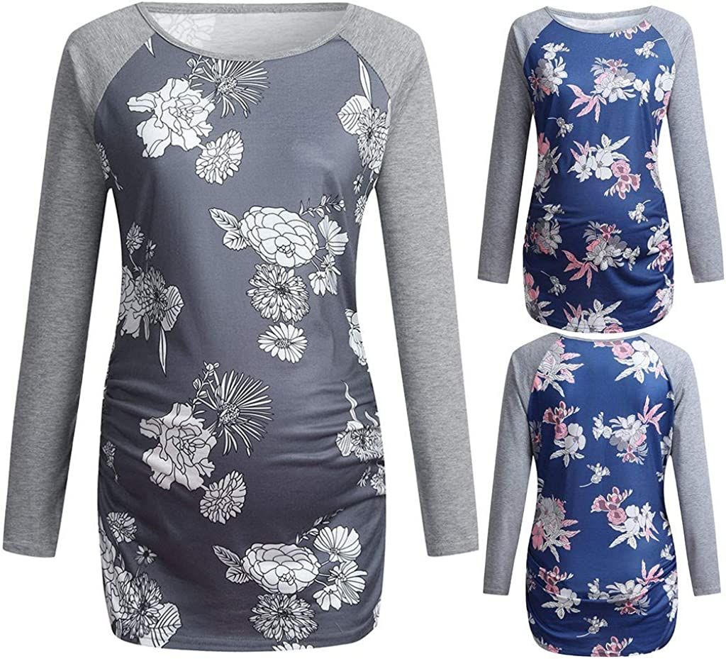 Emimarol Maternity Shirt Long Sleeve Basic Top Ruch Sides Bodycon Tshirt for Pregnant Women