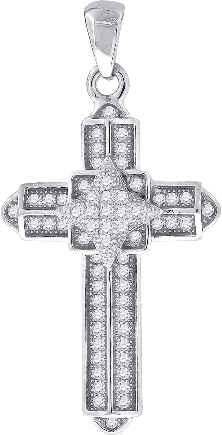 Jewels By Lux Sterling Silver Womens Round Cubic Zirconia CZ Cross Religious Fashion Pendant Set With The Highest Quality Cubic Zirconia.