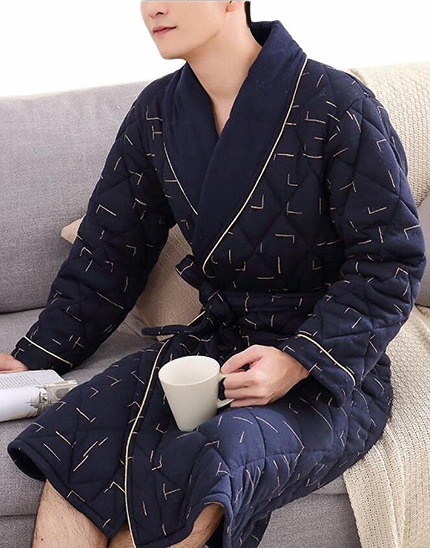 15 GAGA Women's Casual Quilted Thick Print Lapel Pockets Homewear Robe