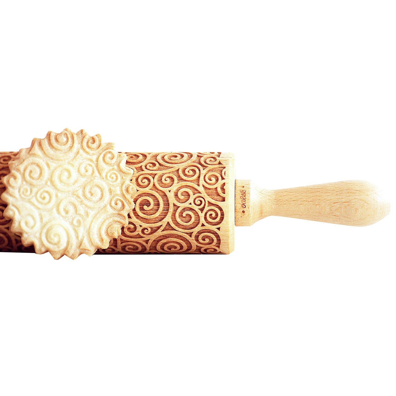 Holz Teigroller//Nudelholz mit Pr/ägung Spiralen
