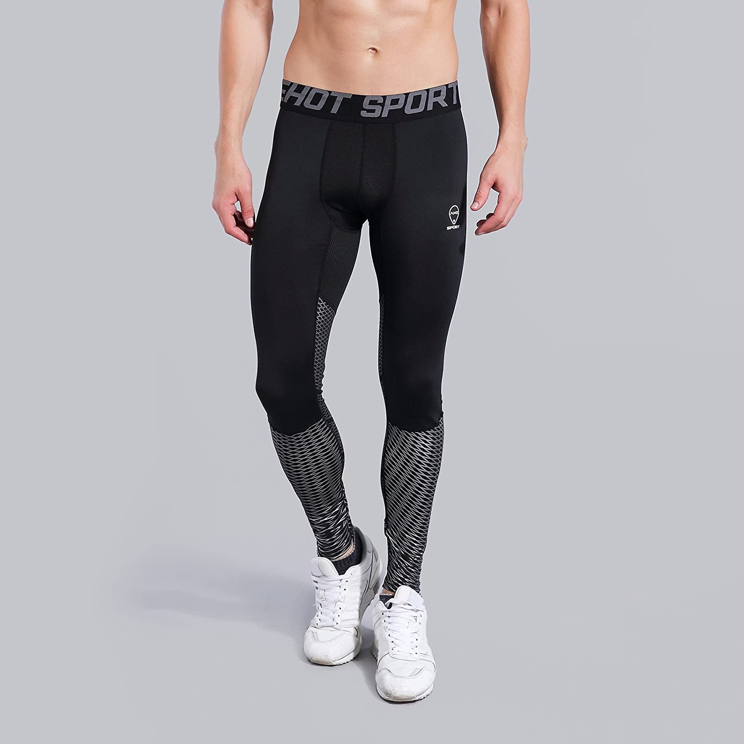 AMZSPORT Mens Sports Compression Tights Cool Dry Baselayer Leggings Pro Traning Pants for All Season