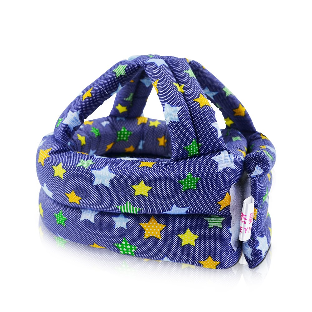 IUME Toddler Baby Safety Helmet Children Headguard Infant Protective Harnesses Cap Adjustable Printed Head Guard Head Protector Cute Stars