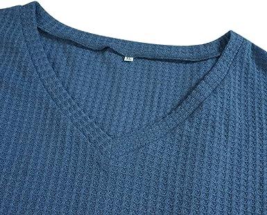 iMixCity Camisa de Punto Waffle para Mujer Sudadera de Patchwork de un Hombro Tops de T/única Sueltos Casuales Blusa de Punto