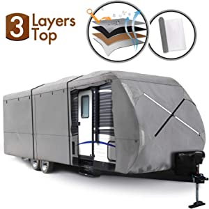 XGEAR Travel Trailer RV Cover Water-Repellent Fabric with Thick 3-ply Top Windproof Buckles & Adhesive Repair Patch ¡­ (16'-18')