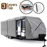 XGEAR Travel Trailer RV Cover Fits 24'-27 Water-Repellent Fabric with Thick 3-ply Top Windproof Buckles & Adhesive Repair Patch